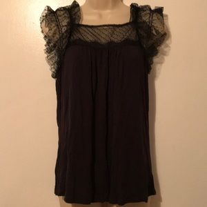 5/$20 F21 Black M Lacy Sleeves Top XC